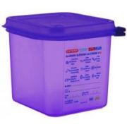 Araven Anti Allergic Polypropylene Purple GN 1/6 Airtight Container, 2.7 Quart -- 6 per case.