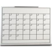 Porcelain Calender Planner Board with satin anodized aluminium frame. Size: 36 x 24 inch -- 1 each.