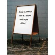 Finish - Walnut finish Double-sided Melamine Dry Erase Sandwich board with a solid oak easel and frame. Height: 60 inch. Board Depth : 1/2 inch. Size: 22 x 38 inch -- 1 each.