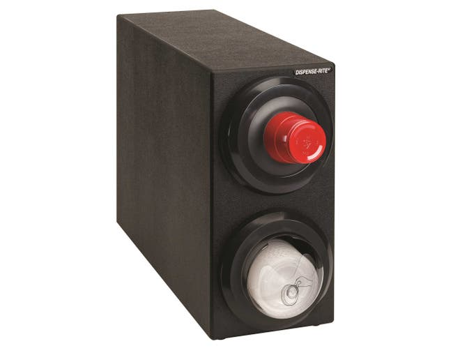 Dispense-Rite Countertop Black Polystyrene Lid Dispensing Cabinet with One SLR-2F and One SLR-LID-2 Lid Dispensers -- 1 each