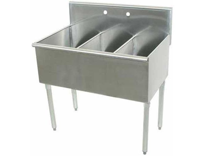 600 Series Stainless Steel Square Corner Scullery Budget Sink with 3 Compartment.24X72 72 inch O.A. -- 1 each.