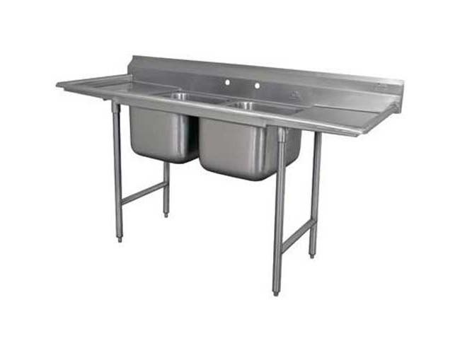 Standard 930 Series Stainless Steel Regaline Sink with 2 Compartment, 2 Drain Board.Overall Length 93 inch -- 1 each.