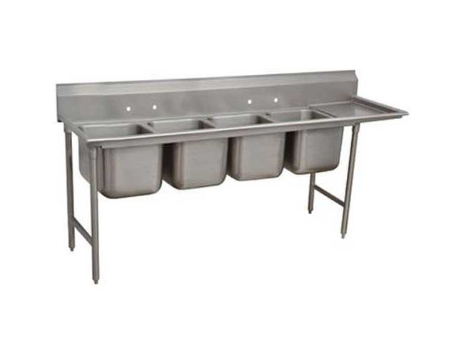 Standard 930 Series Stainless Steel Regaline Sink with 4 Compartment, Right Drain Board.Overall Length 129 inch -- 1 each.
