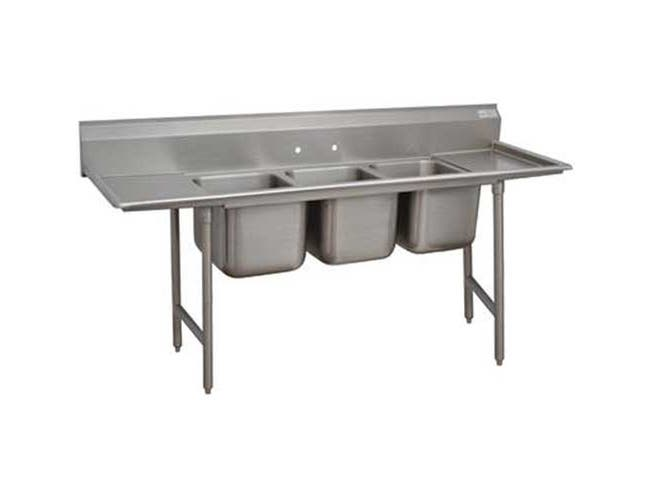 Standard 930 Series Stainless Steel Regaline Sink with 3 Compartment, 2 Drain Board.Overall Length 139 inch -- 1 each.