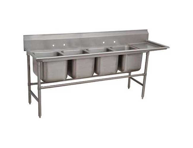 Spec-line 940 Series Stainless Steel Regaline Sink with 4 Compartment, Right Drain Board.Overall Length 117 inch -- 1 each.
