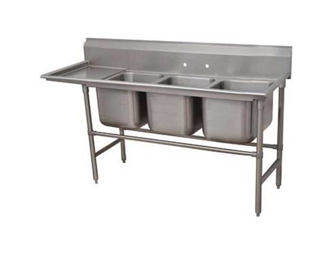 Spec-line 940 Series Stainless Steel Regaline Sink with 3 Compartment, Right Drain Board.Overall Length 89 inch -- 1 each.