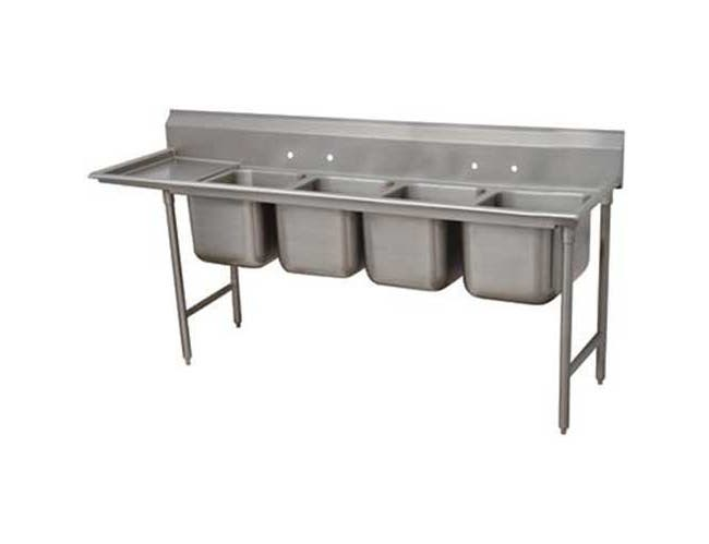 Super Saver 900 Series Stainless Steel Regaline Sink with 4 Compartment, Left Drain Board.Overall Length 129 inch -- 1 each.