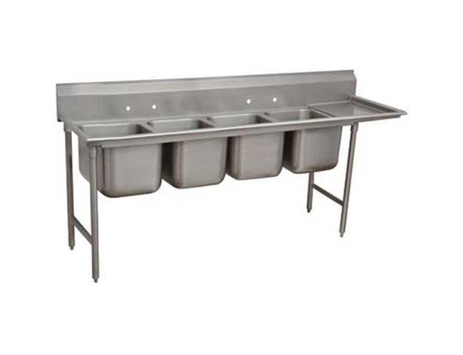 Super Saver 900 Series Stainless Steel Regaline Sink with 4 Compartment, Right Drain Board.Overall Length 111 inch -- 1 each.