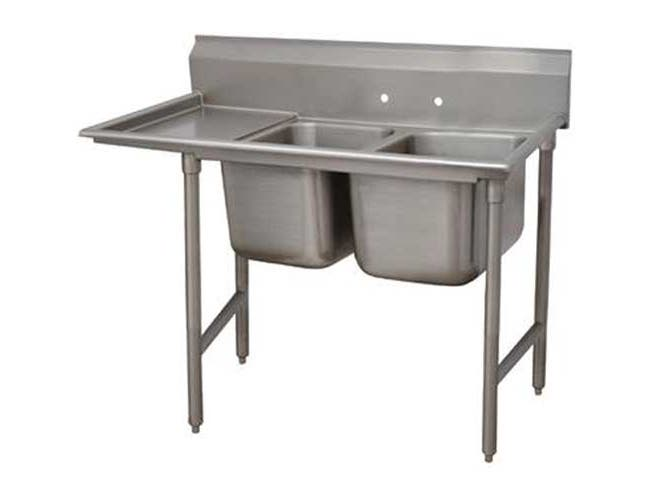 Super Saver 900 Series Stainless Steel Regaline Sink with 2 Compartment, Left Drain Board.Overall Length 92 inch -- 1 each.