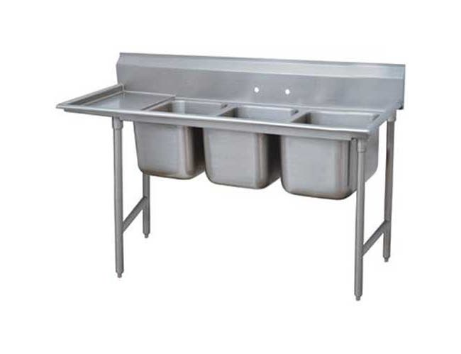 Super Saver 900 Series Stainless Steel Regaline Sink with 3 Compartment, Left Drain Board.Overall Length 89 inch -- 1 each.