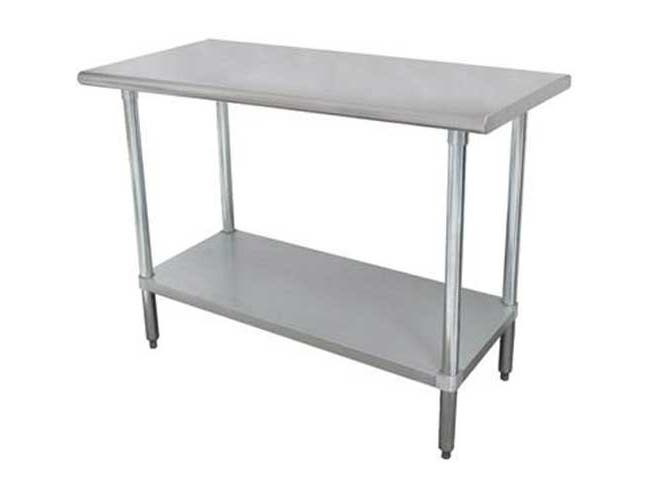 Premium Stainless Steel, Flat Top Work Table With Galvanized Legs and Undershelf, 36 x 60 inch -- 1 each.