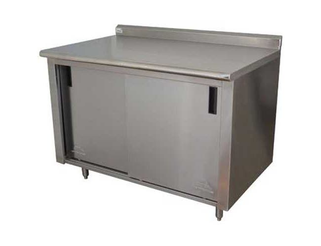Stainless Steel 1 1/2 inch Backsplash Enclosed Base Work Table With Slide Door and Midshelf, 36X72 inch -- 1 each.
