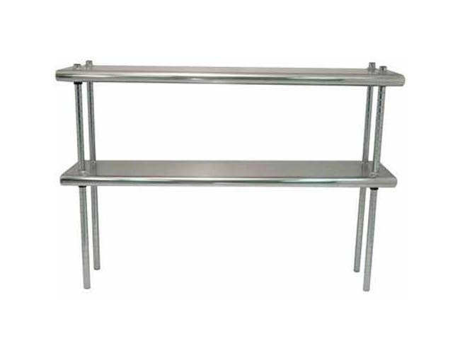 Stainless Steel Shelving - Double Deck With Adjustable Chrome Post, 12 x 60 inch -- 1 each.