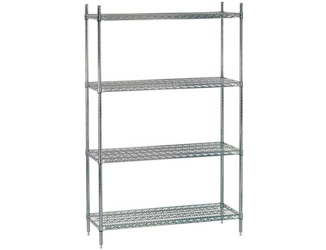 Chrome Wire Shelving Combo Unit Size 14 x 72 x 74 inch - Includes 4 Shelves and 4 - 74 inch Posts -- 1 set each.