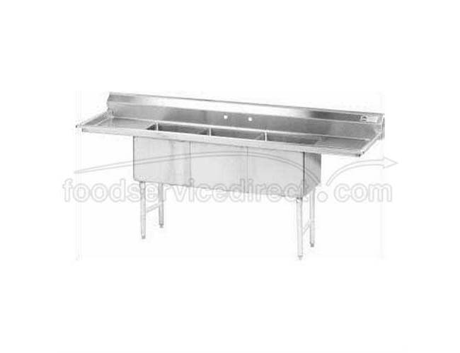 Stainless Steel Fabricated Economy Sink with 3 Compartment, Left & Right Drain Board.Overall Length 102 inch -- 1 each.