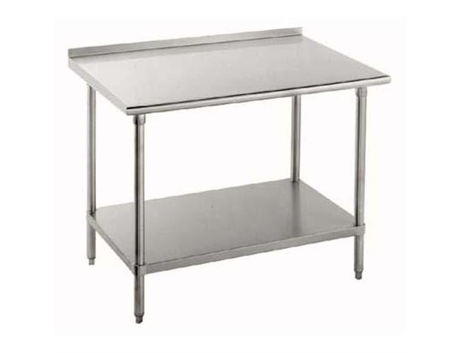 Stainless Steel Economy Work Table With Galvanized Leg and Adjustable Undershelf - 1 1/2 inch Splash, 24 x 96 inch -- 1 each.