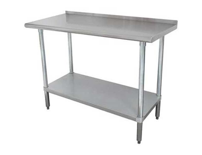 Premium Stainless Steel Work Table, 1 1/2 inch Rear Splash With Stainless Steel Legs and Undershelf, 36 x 132 inch -- 1 each.