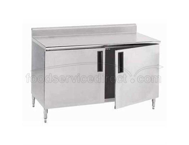Stainless Steel 1 1/2 inch Splash Enclosed Base Work Table With Hinge Door and Midshelf, 30X144 inch -- 1 each.