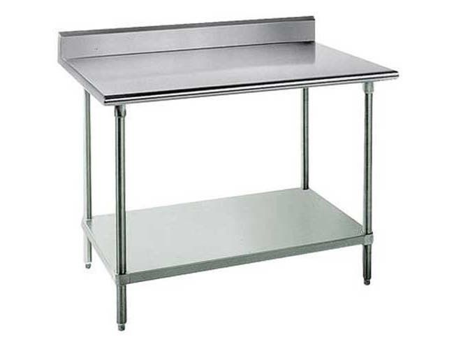 Premium Stainless Steel Work Table, 5 inch Back Splash with Galvanized Legs and Undershelf, 36 x 72 -- 1 each.
