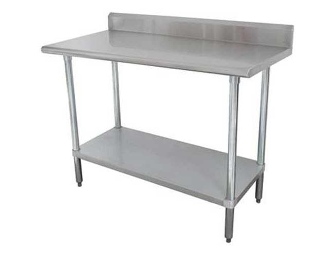 Premium Stainless Steel Work Table, 5 inch Back Splash With Stainless Steel Legs and Undershelf, 30 x 84 inch -- 1 each.