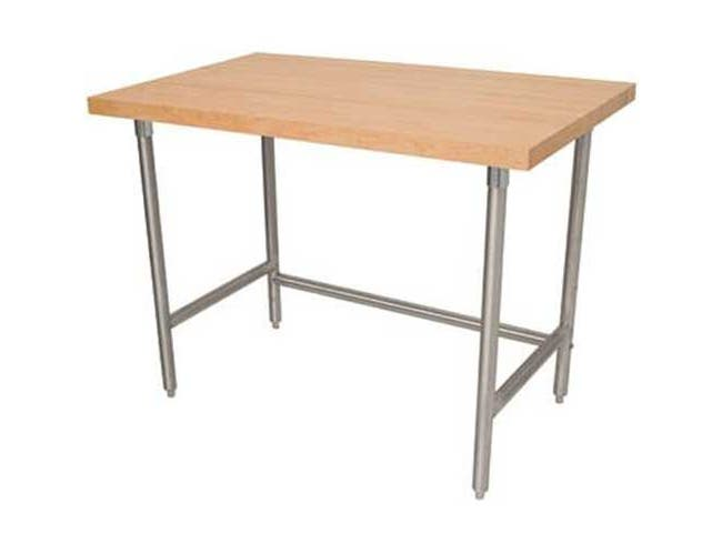 Open Stainless Steel Base Wood Top Table, 30 x 60 inch -- 1 each.