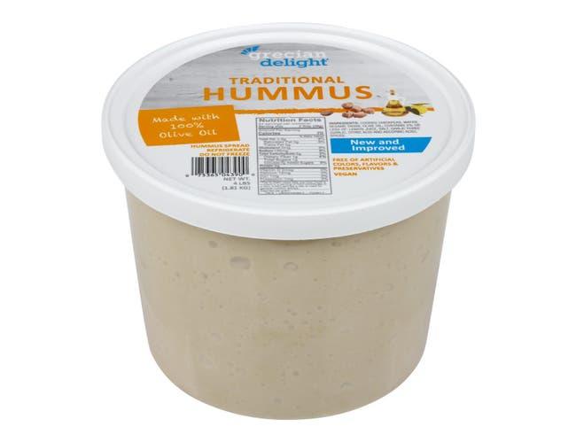 Grecian Delight Fresh Traditional Hummus, 0.5 Gallon -- 2 per case.