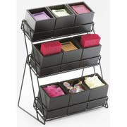 Cal Mil Midnight Bamboo 9 Bin Iron 3 Tiered Display, 13 x 9.5 x 17.5 inch -- 1 each.