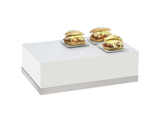 Cal Mil Luxe White Stainless Steel Trim Rectangular Riser, 12 x 20 x 6.5 inch -- 1 each.
