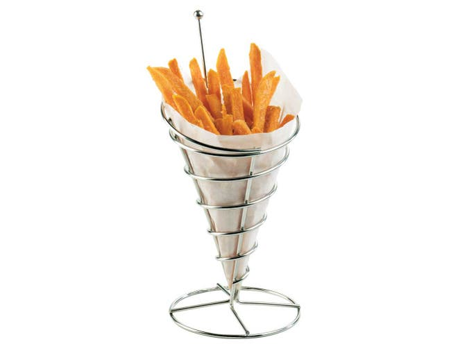 Cal Mil Chrome Cone Wire French Fry Holder, 5 x 5 x 10.5 inch -- 6 per case.