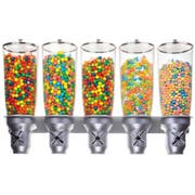 Cal Mil Platinum Wall Mount Turn and Serve 5 Cylinder Cereal Dispenser, 31 x 6.75 x 19.75 inch -- 1 each.