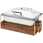 Cal Mil Brass Mid Century Chafer with Lid, 23 x 17.5 x 13.75 inch -- 1 each.