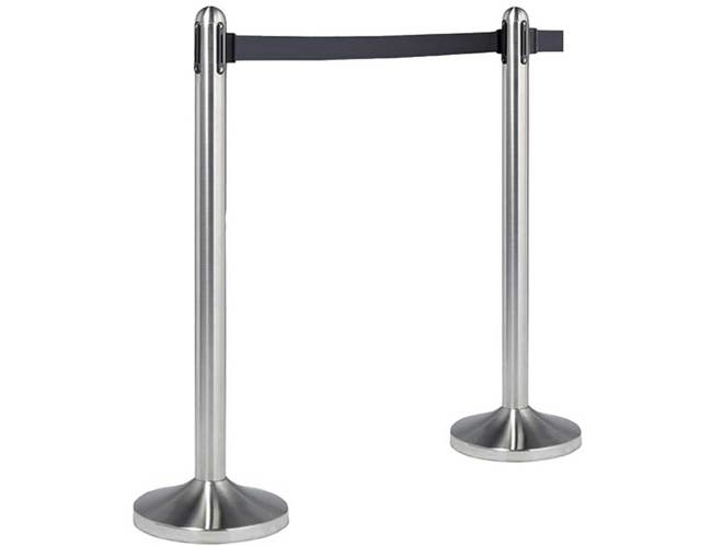 American Metalcraft Brushed Stainless Steel Post and Base with Black Nylon Tape Barrier System -- 1 set.