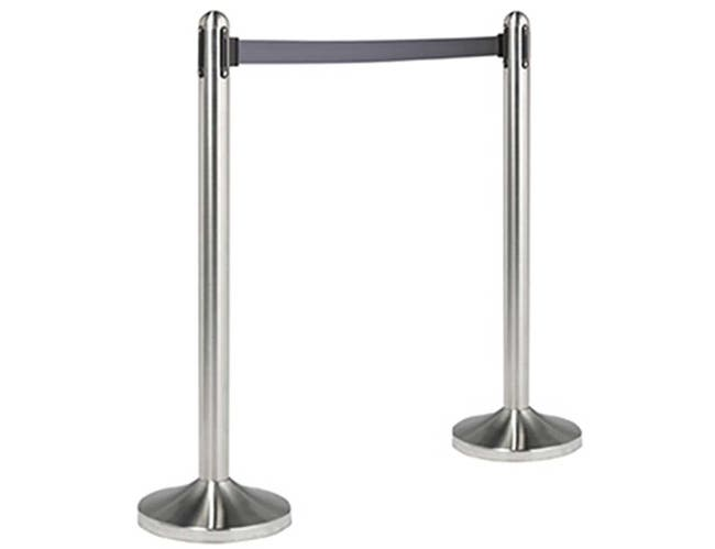 American Metalcraft Brushed Stainless Steel Gray Post and Base with Gray Nylon Tape Barrier System -- 1 set.
