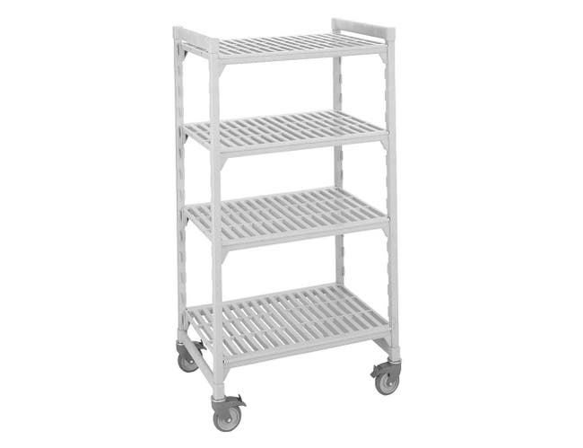 Cambro Speckled Gray 4 Solid Shelves High Density Mobile Unit, 21 x 36 x 75 inch -- 1 each.