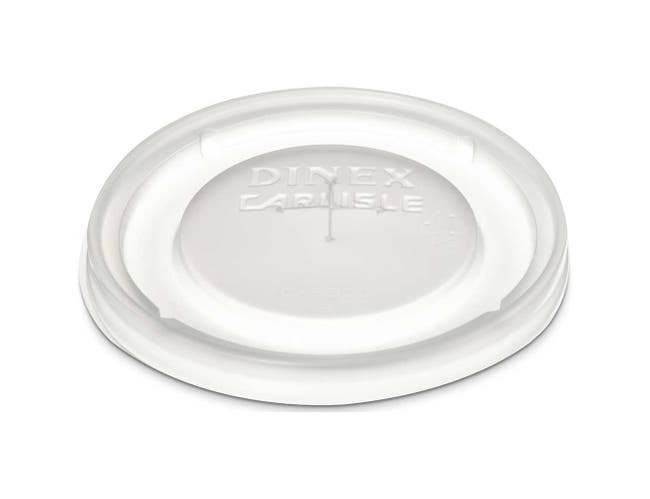 Dinex Polystyrene Translucent Lid with Straw Slot -- 1000 per case.