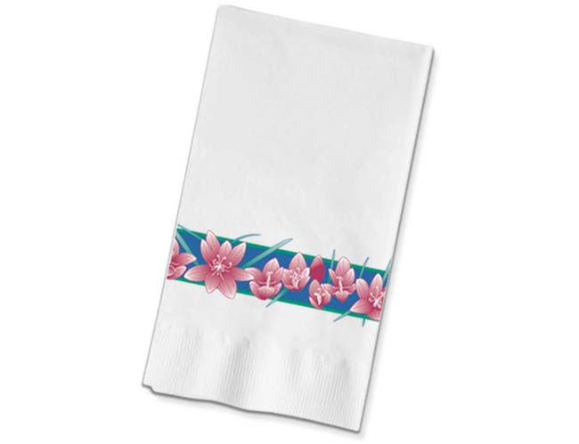 Dinex Freesia Pattern 2 Ply Recycled Paper Dinner Napkin, 15 x 17 inch -- 1000 per case.