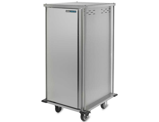 Dinex Stainless Steel Single Door Two Trays per Slide 14 Tray TQ Meal Delivery Cart, 31.64 x 36.21 x 50.55 inch -- 1 each.