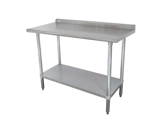 Stainless Steel Economy Work Table With S/S Leg,Bullet Feet and Adjustable Undershelf - 1 1/2 inch Splash, 24 x 36 inch -- 1 each.