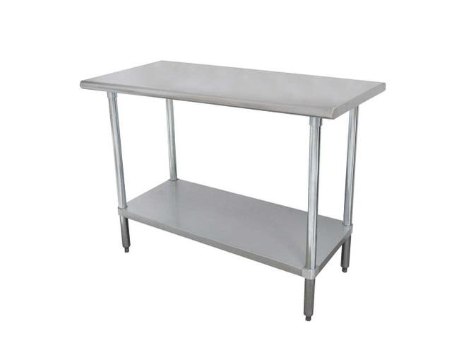 Economy Stainless Steel Work Table - Flat Top With Stainless Steel Leg,Feet and Adjustable Undershelf, 30 x 36 inch -- 1 each.