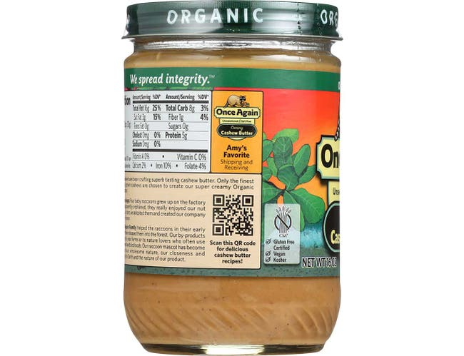 Once Again Organic Creamy Cashew Butter, 16 Ounce -- 12 per case.