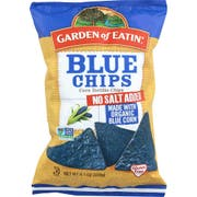 Garden Of Eatin Organic Unsalted Blue Corn Tortilla Chips, 8.1 Ounce -- 12 per case.