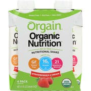Orgain Organic Strawberries and Cream Nutritional Shake, 11 Fluid Ounce - 4 per pack -- 3 packs per case.