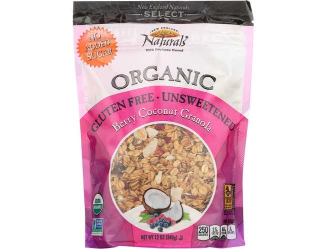 New England Natural Bakers Unsweetened Berry Coconut Granola, 12 Ounce -- 6 per case.