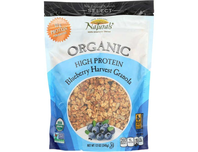 New England Natural Bakers Organic High Protein Blueberry Harvest Granola, 12 Ounce -- 6 per case.