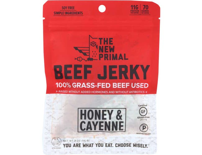 The New Primal Spicy Beef Jerky, 2 Ounce -- 8 per case.
