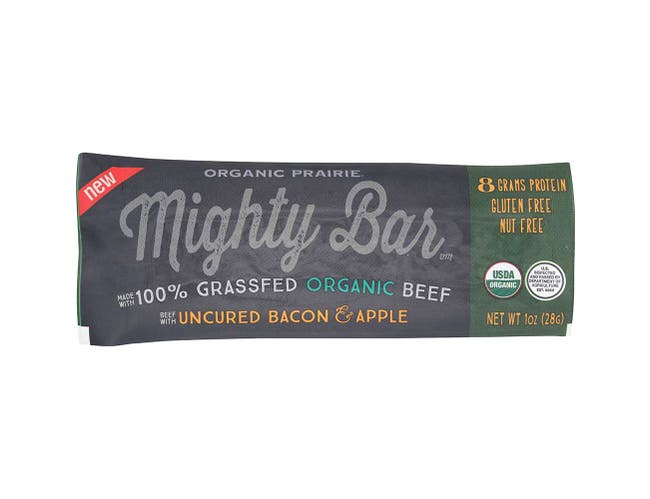 Organic Prairie Organic Uncured Bacon and Apple Beef Mighty Bar, 1 Ounce -- 12 per case.