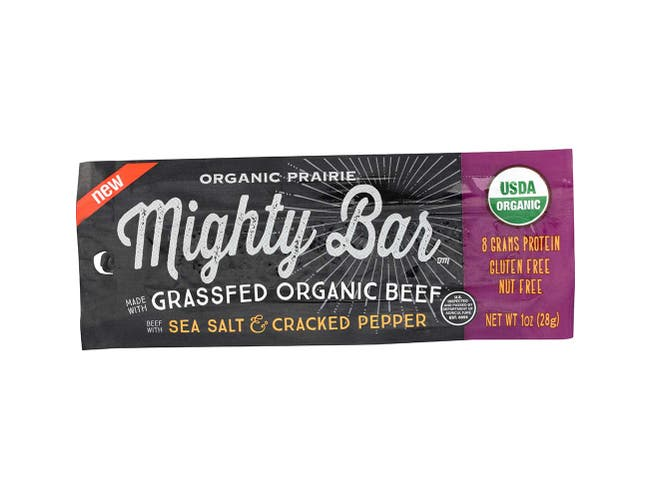 Organic Prairie Sea Salt and Cracked Pepper Beef Mighty Bar, 1 Ounce -- 12 per case.