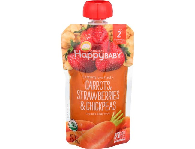 Happy Baby Organic Stage 2 Carrots Strawberries and Chickpeas Baby Food, 4 Ounce -- 16 per case.