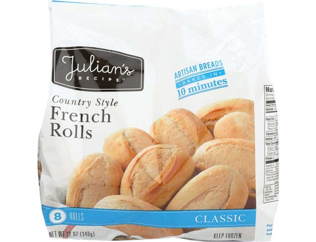 Julians Recipe Country Style 12 Ounce French Rolls, 8 count per pack -- 12 per case.