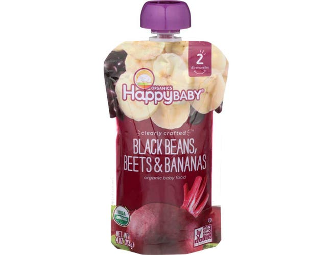 Happy Baby Clearly Crafted Organic Stage 2 Black Beans Beets and Bananas Baby Food, 4 Ounce -- 16 per case.